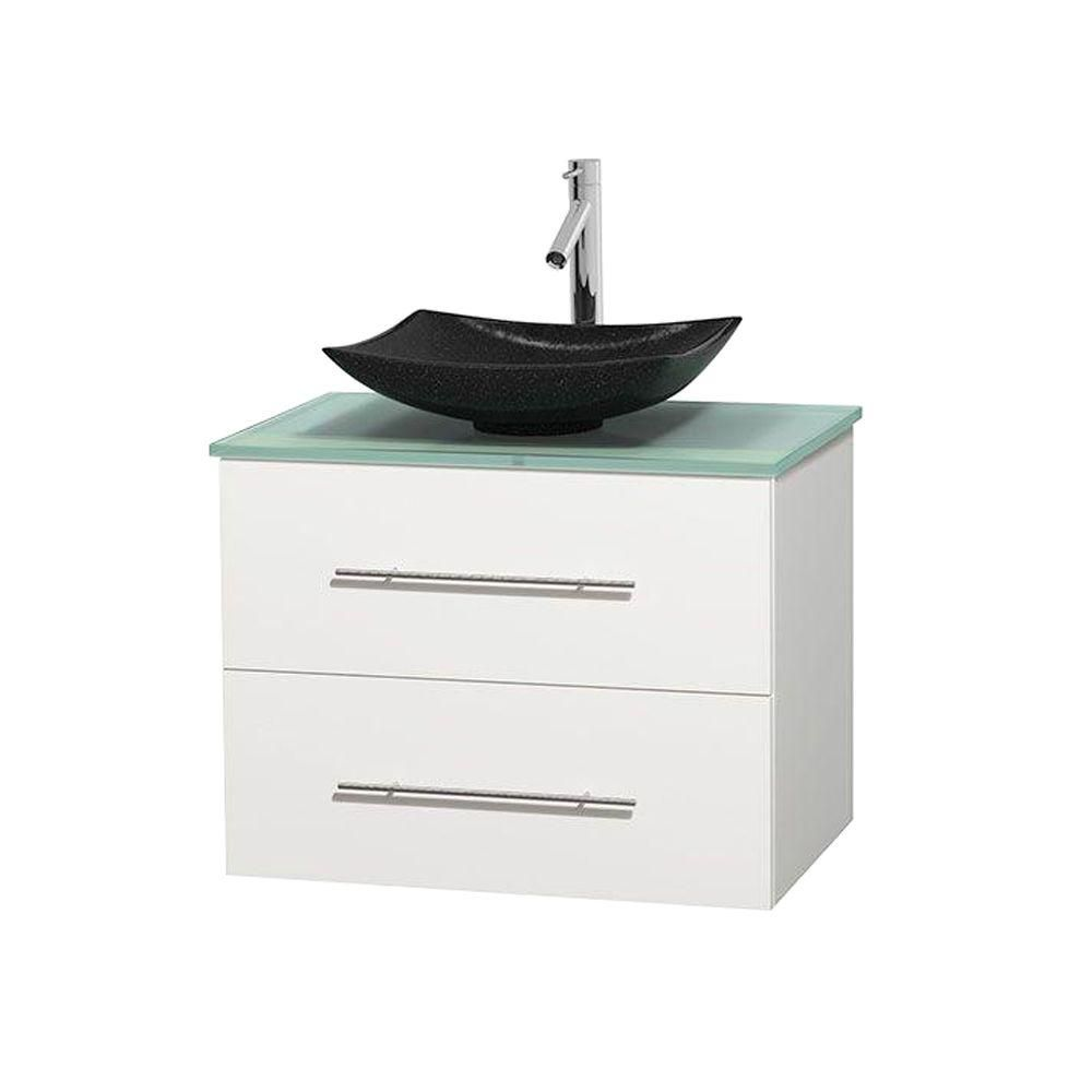 Centra 30-inch W Vanity in White with Glass Top with Black Basin