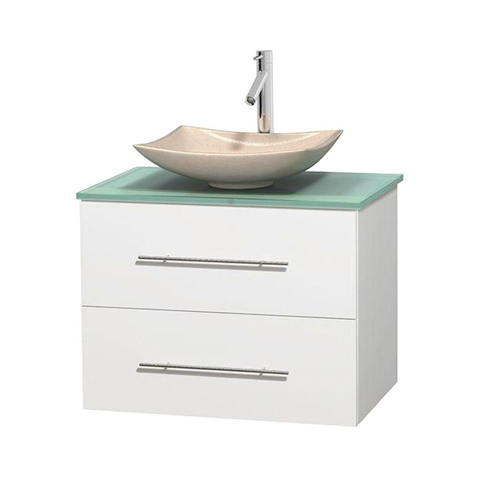 Centra 30-inch W Vanity in White with Glass Top with Ivory Basin