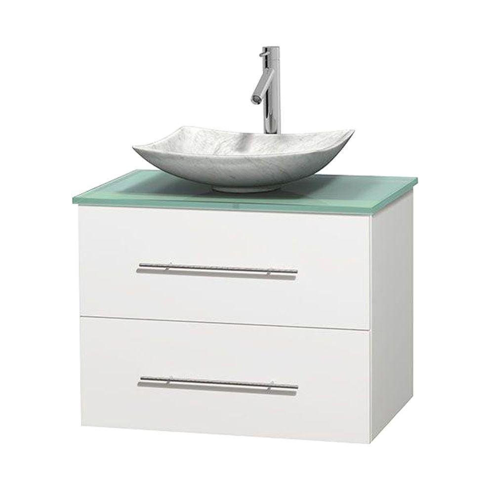Meuble simple Centra 30 po. blanc, comptoir verre vert, lavabo blanc Carrare, sans miroir