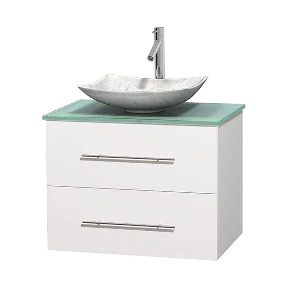 Wyndham Collection Centra 30-inch W 1-Drawer 1-Door Wall Mounted Vanity in White With Top in Green