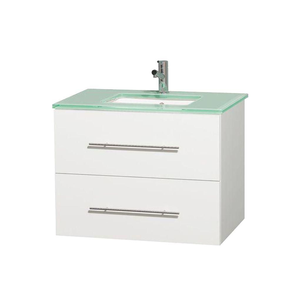Centra 30-inch W Vanity in White with Glass Top in Green and Square Sink
