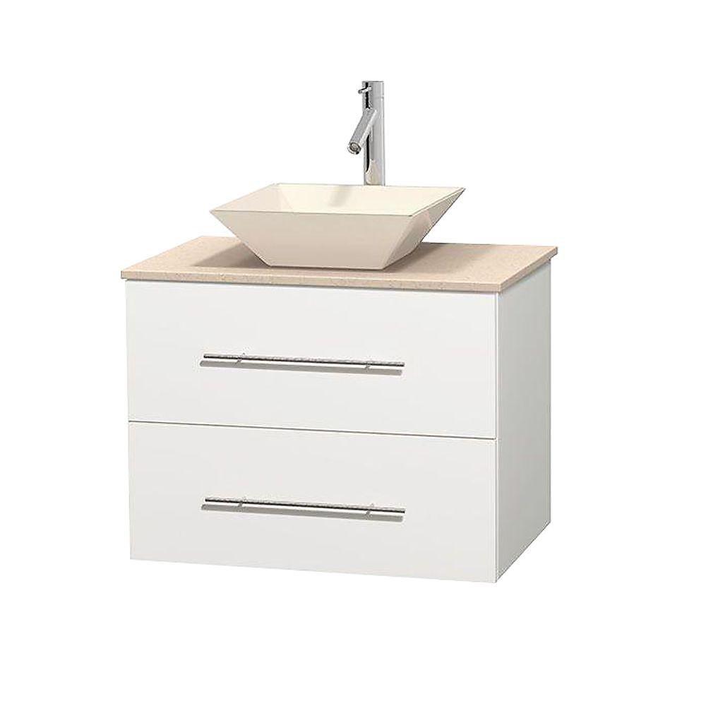 Meuble unique Centra 30 po. blanc, comptoir marbre ivoire, lavabo porcelaine bone sans miroir