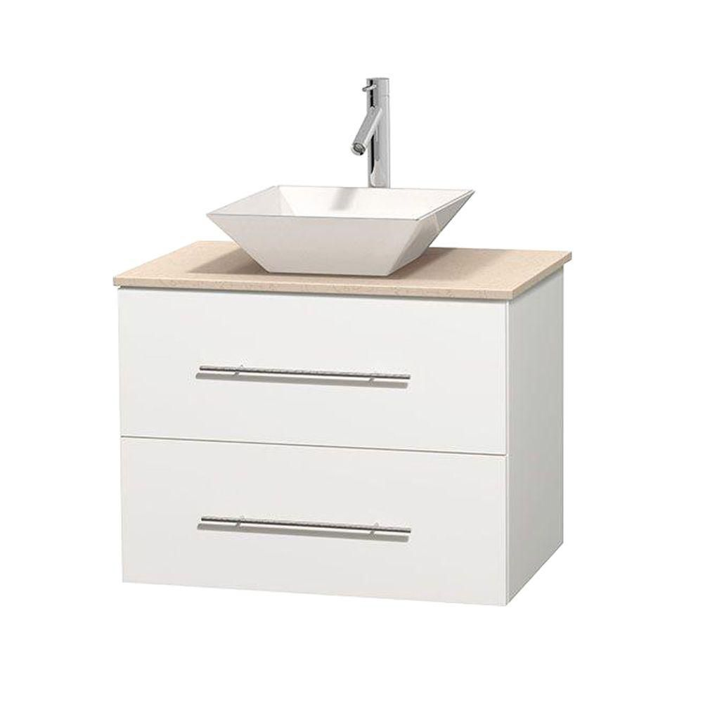 Centra 30-inch W Vanity in White with Marble Top in Ivory with White Basin