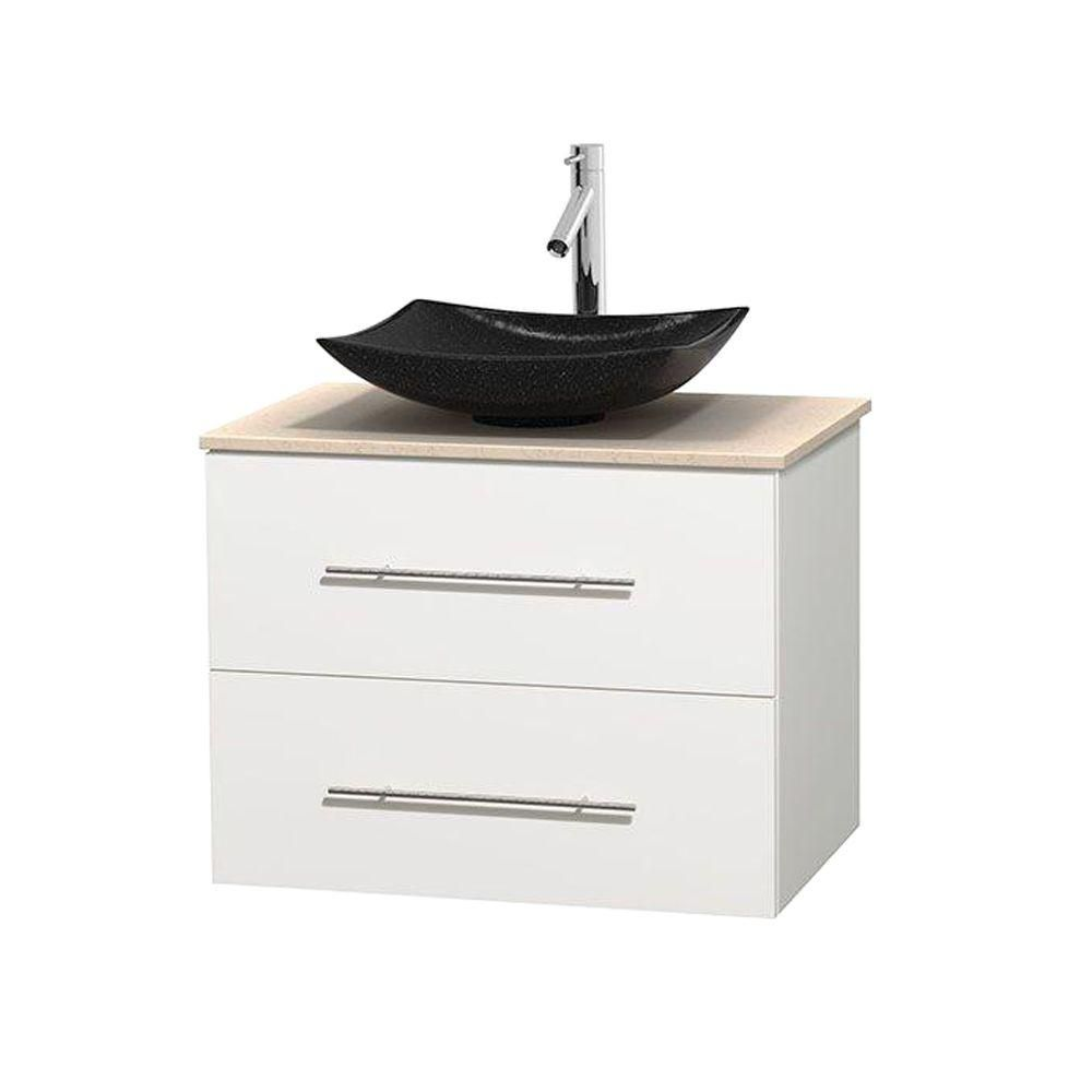 Centra 30-inch W Vanity in White with Marble Top in Ivory with Black Basin