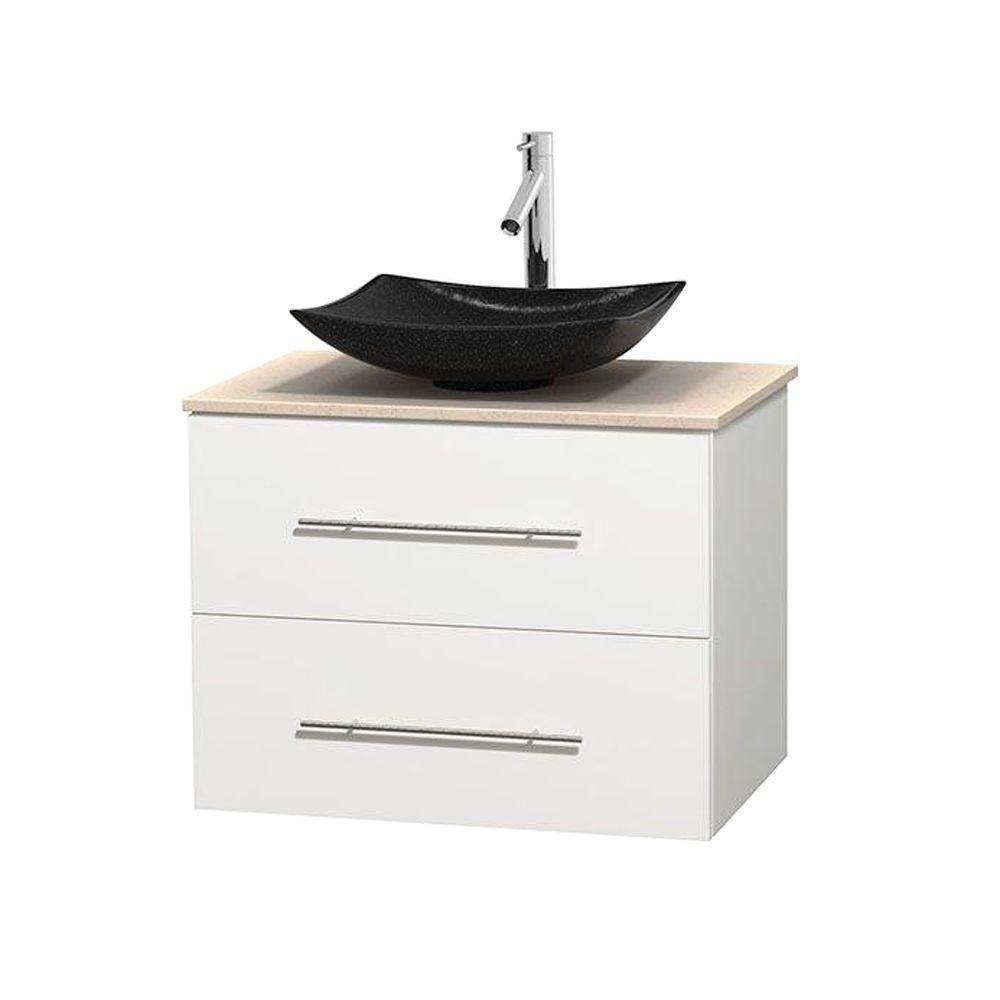Meuble simple Centra 30 po. blanc, comptoir marbre ivoire, lavabo granit noir, sans miroir