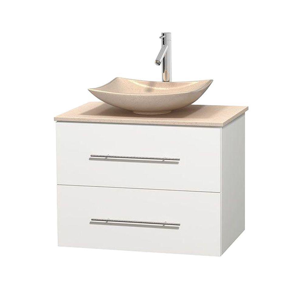 Meuble simple Centra 30 po. blanc, comptoir marbre ivoire, lavabo ivoire, sans miroir