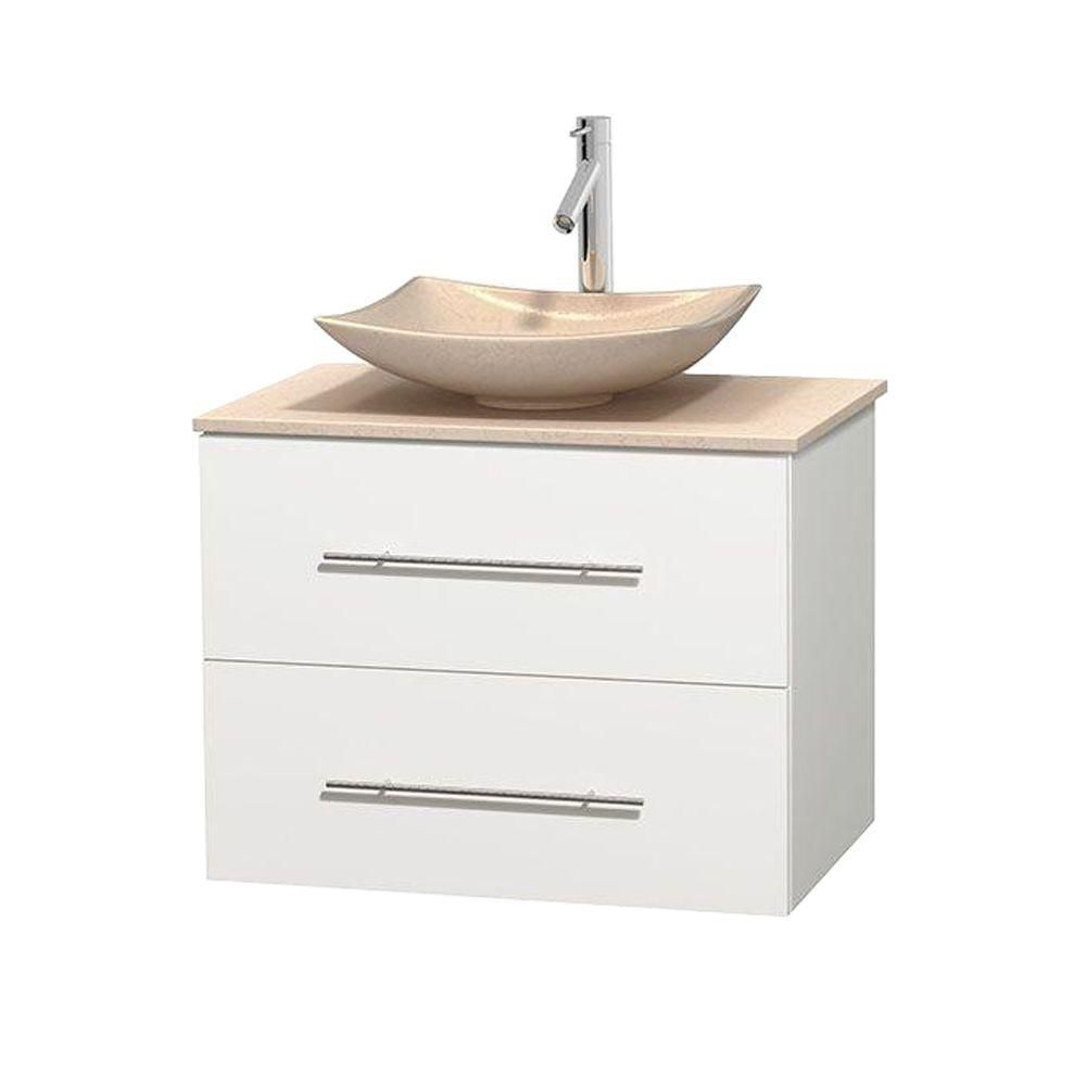 Centra 30-inch W Vanity in White with Marble Top in Ivory with Ivory Basin