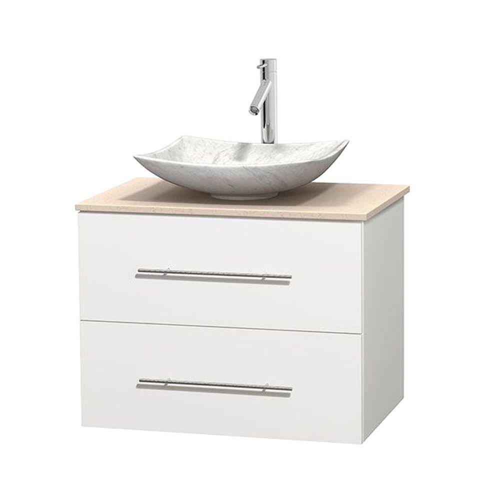 Meuble simple Centra 30 po. blanc, comptoir marbre ivoire, lavabo blanc Carrare, sans miroir