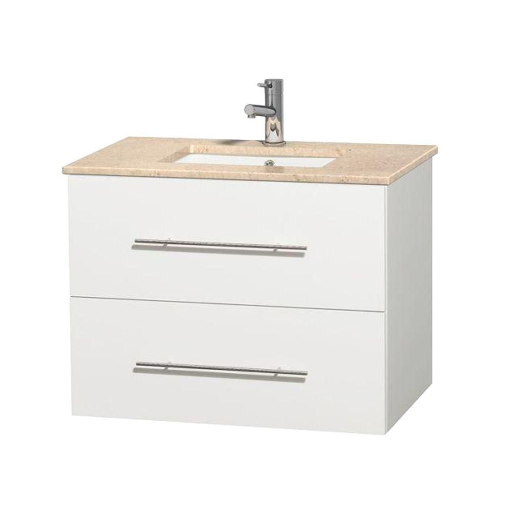Centra 30-inch W Vanity in White with Marble Top in Ivory with Square Basin