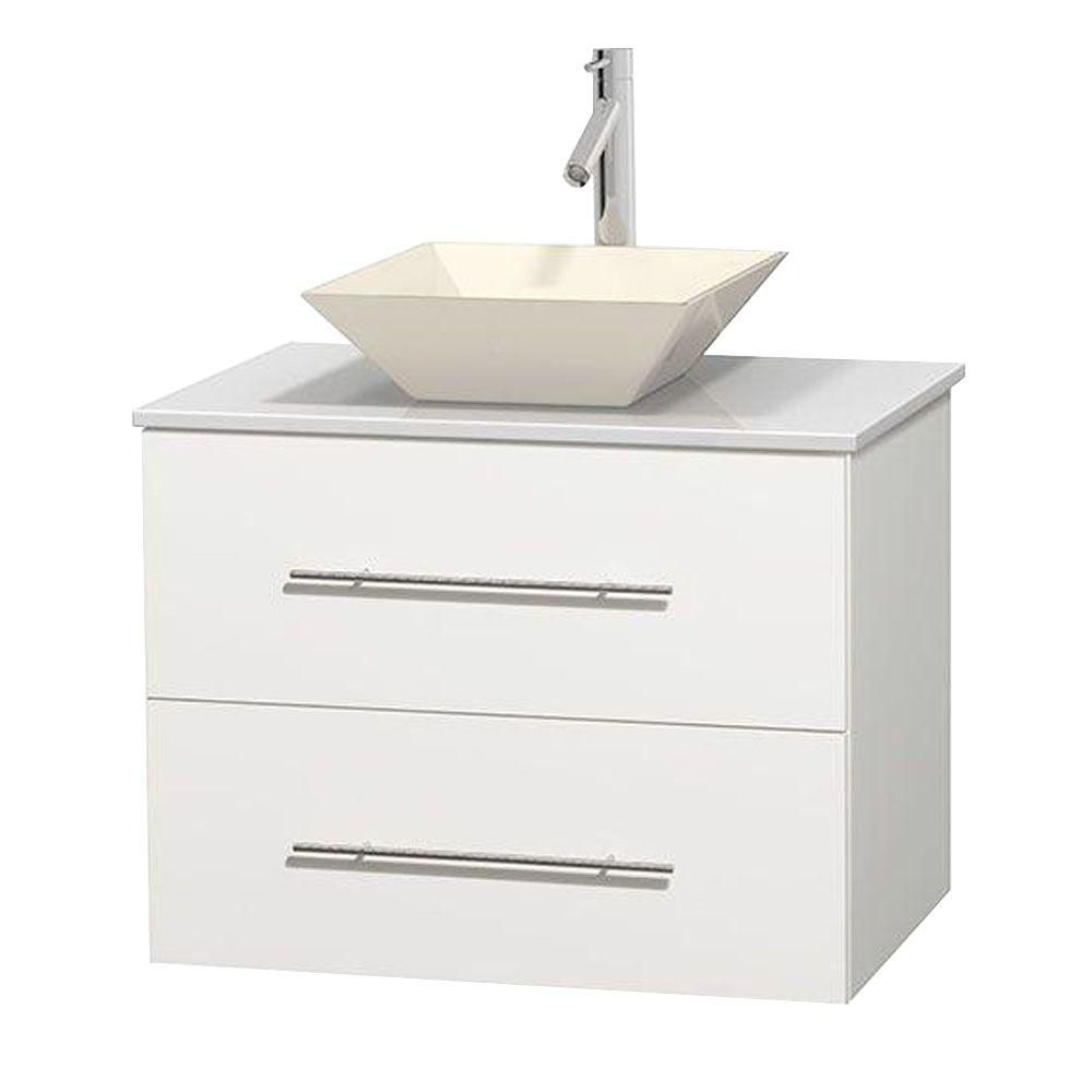 Centra 30-inch W Vanity in White with Solid Top with Bone Basin