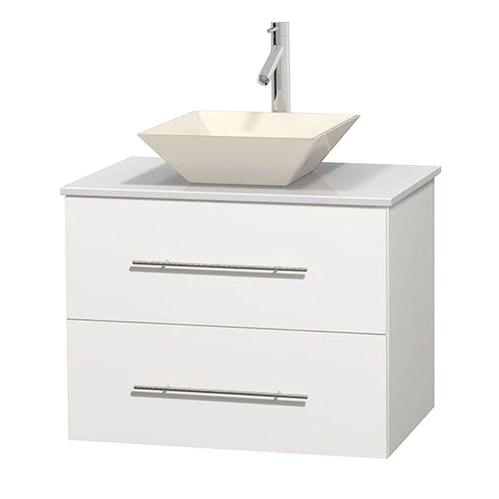 Meuble unique Centra 30 po. blanc, comptoir solide, lavabo porcelaine bone sans miroir