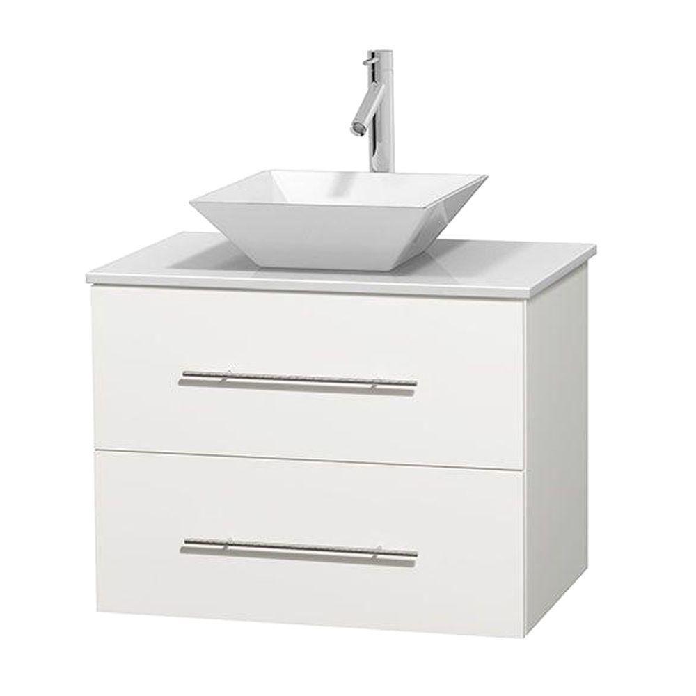 Meuble unique Centra 30 po. blanc, comptoir solide, lavabo porcelaine blanche sans miroir