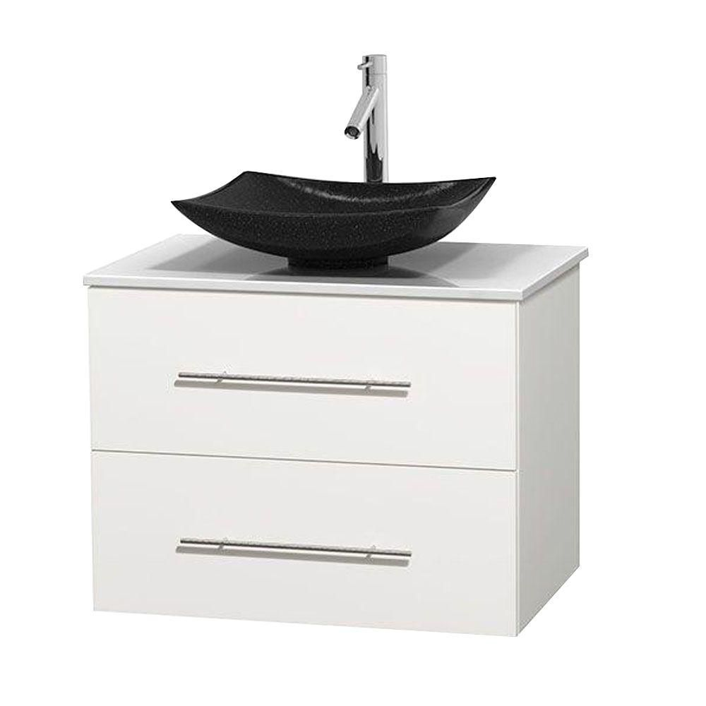 Centra 30-inch W Vanity in White with Solid Top with Black Basin