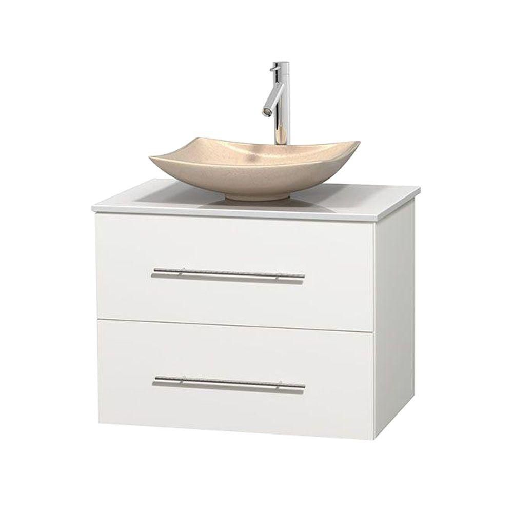 Centra 30-inch W Vanity in White with Solid Top with Ivory Basin