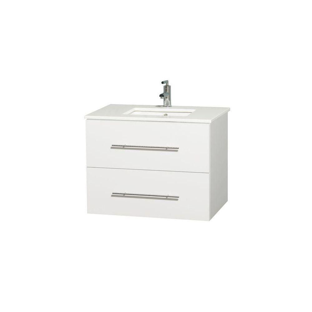 Centra 30-inch W Vanity in White with Solid Top with Square Basin