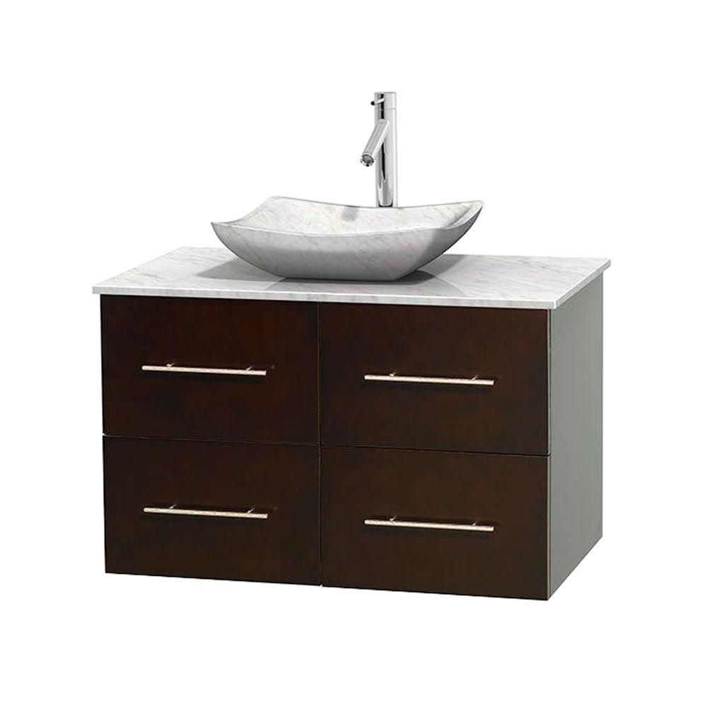 Wyndham Collection Centra 36-inch W 2-Drawer 2-Door Wall Mounted Vanity in Brown With Marble Top in White
