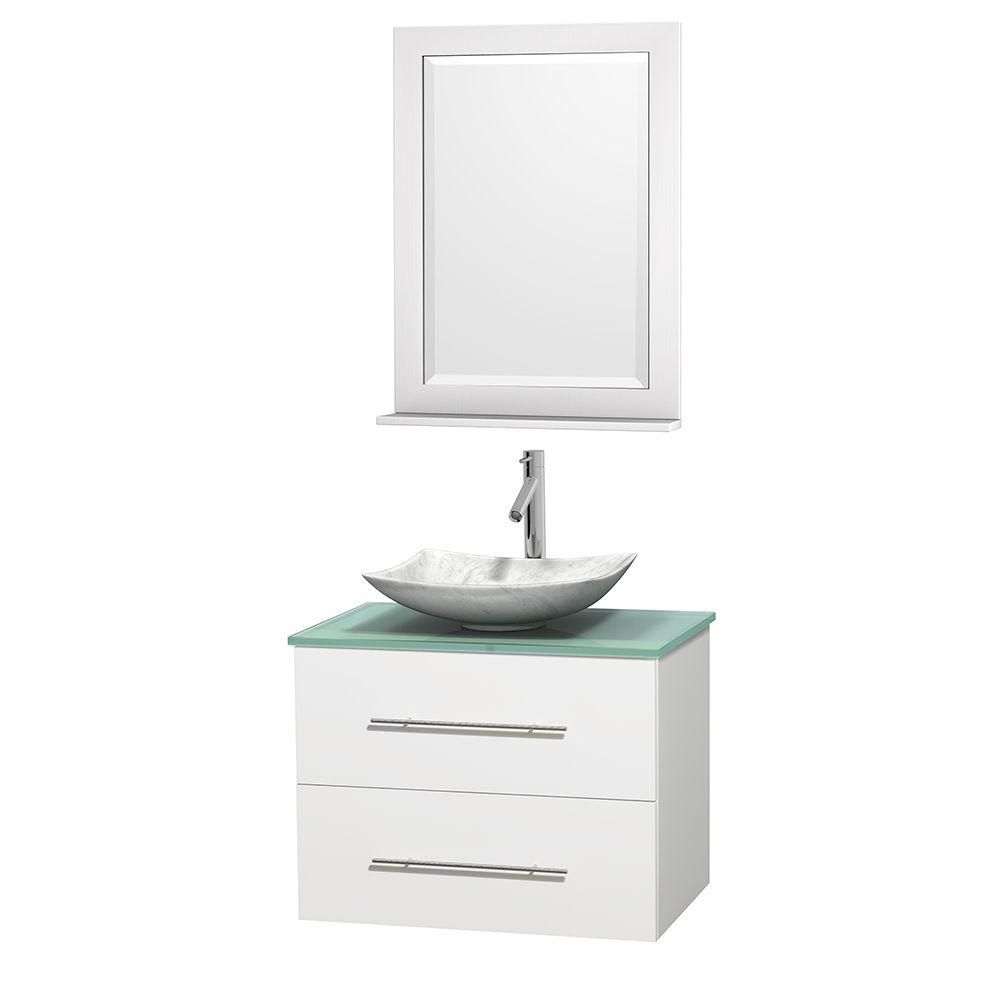 Centra 30-inch W Vanity in White with Glass Top with White Basin and Mirror