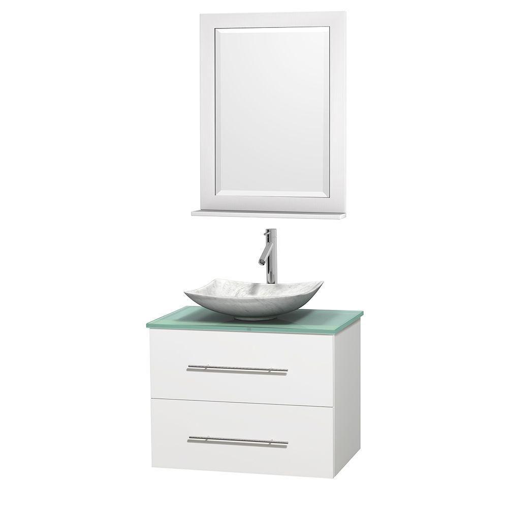 Meuble simple Centra 30 po. blanc, comptoir verre vert, lavabo blanc Carrare, miroir 24 po.