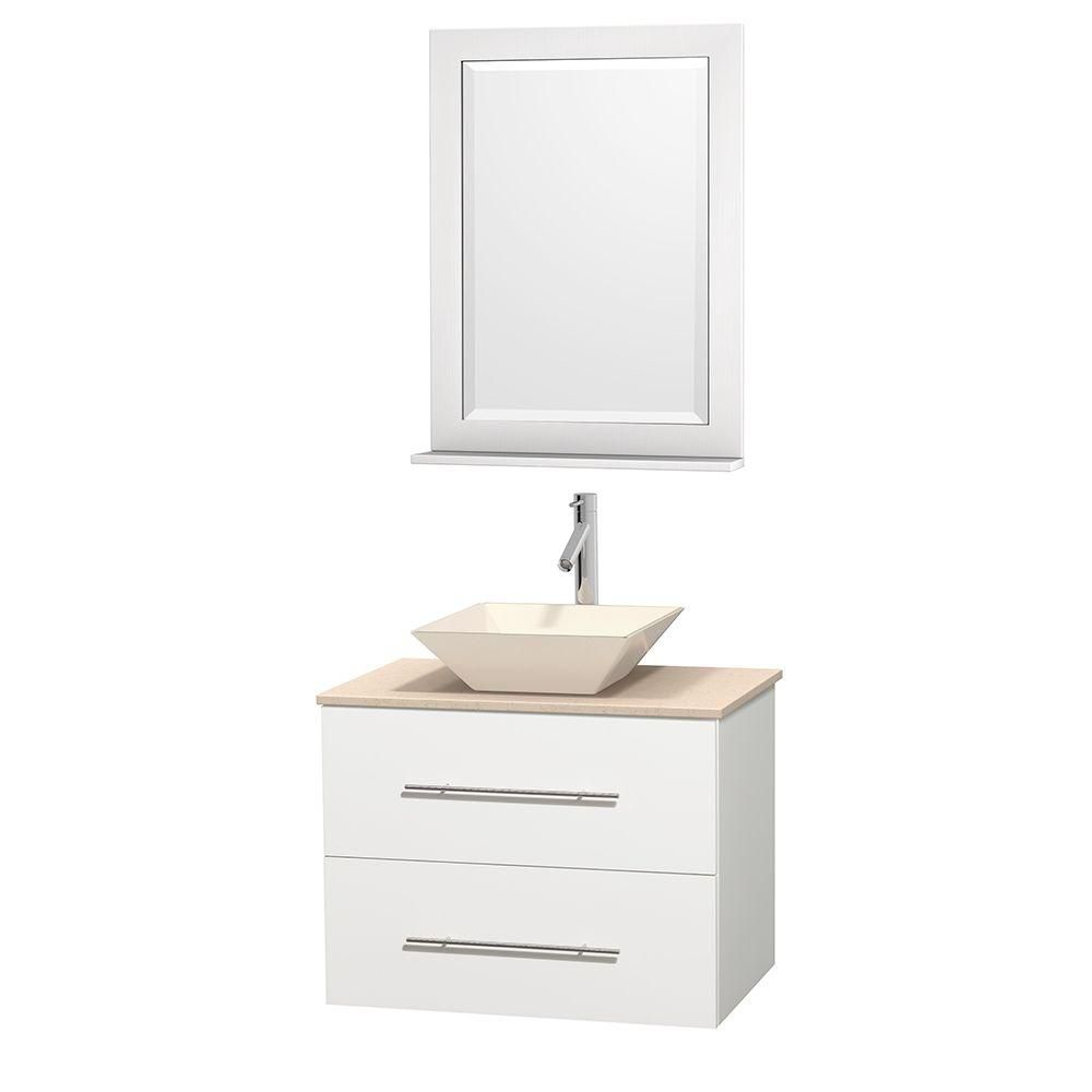 Centra 30-inch W Vanity in White with Marble Top in Ivory with Bone Basin and Mirror