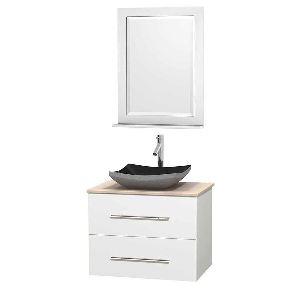 Centra 30-inch W Vanity in White with Marble Top in Ivory with Black Basin and Mirror