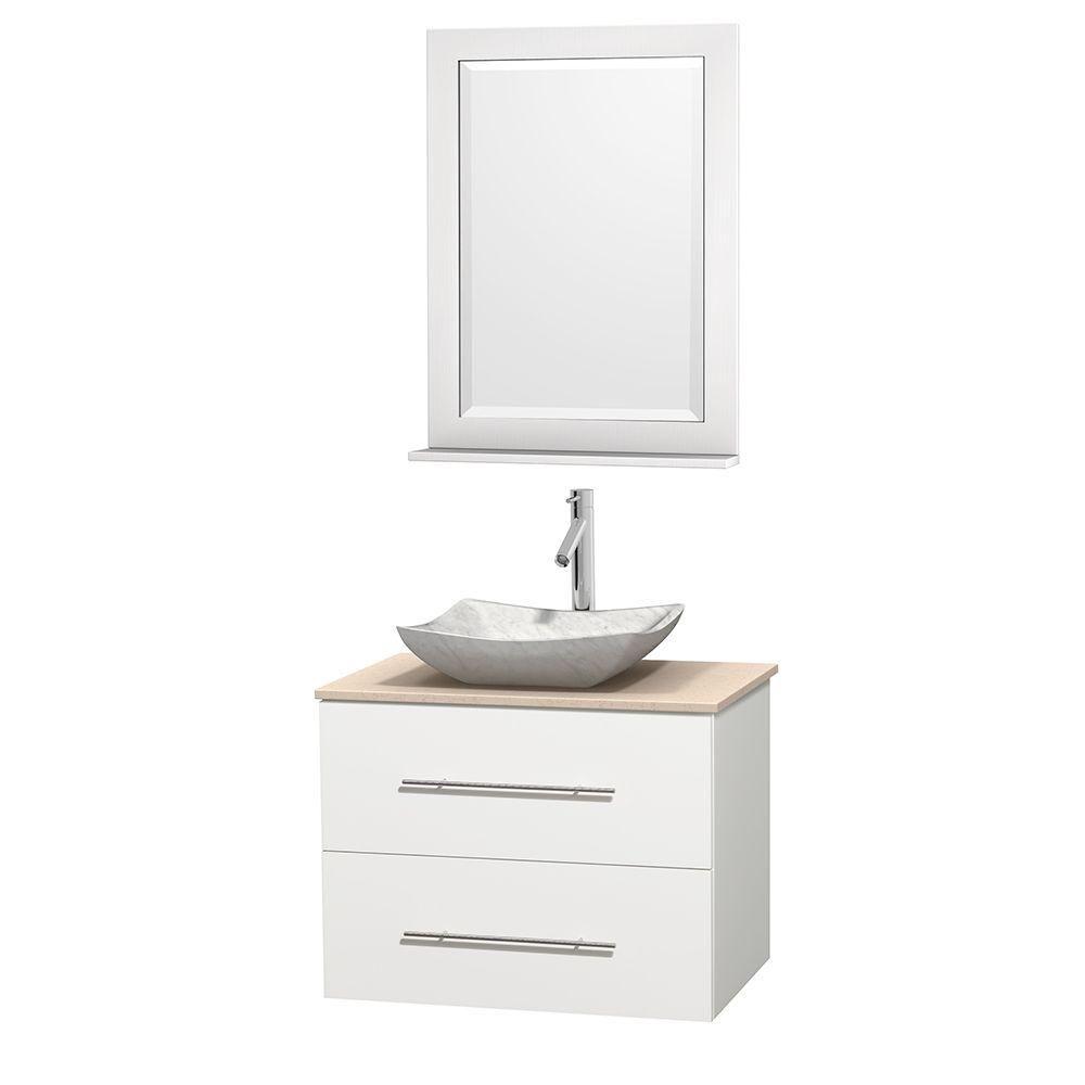 Meuble simple Centra 30 po. blanc, comptoir marbre ivoire, lavabo blanc Carrare, miroir 24 po.