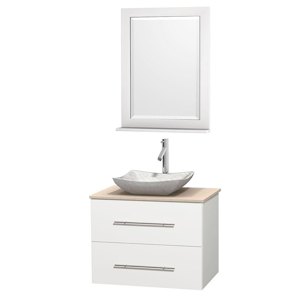 Wyndham Collection Meuble simple Centra 30 po. blanc, comptoir marbre ivoire, lavabo blanc Carrare, miroir 24 po.