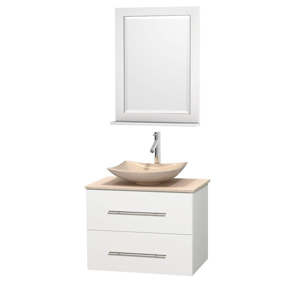 Centra 30-inch W Vanity in White with Marble Top in Ivory with Ivory Basin and Mirror