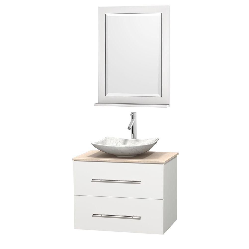 Centra 30-inch W Vanity in White with Marble Top in Ivory with White Basin and Mirror