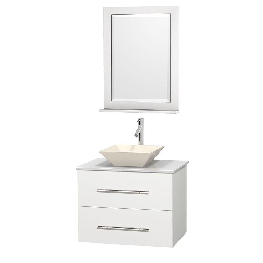Centra 30-inch W Vanity in White with Solid Top with Bone Basin and Mirror