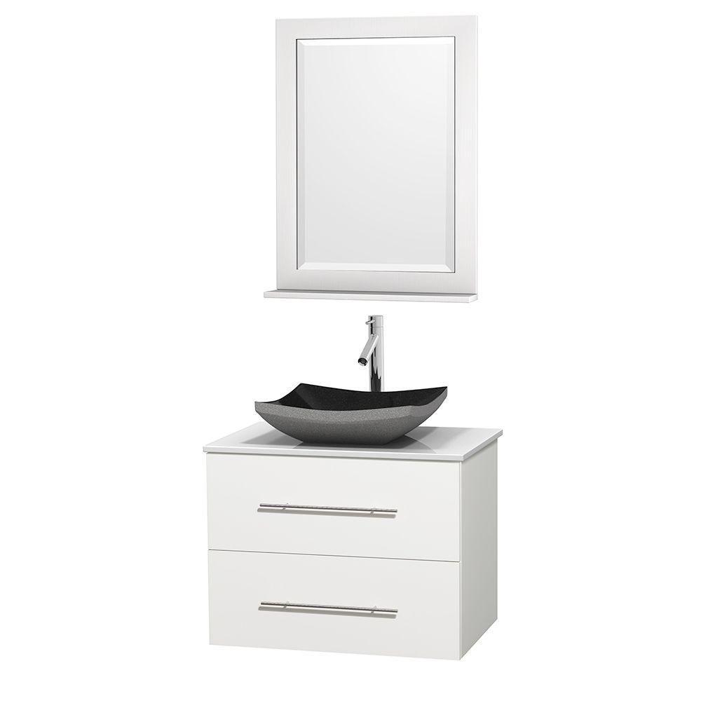 Meuble simple Centra 30 po. blanc, comptoir solide, lavabo granit noir, miroir 24 po.