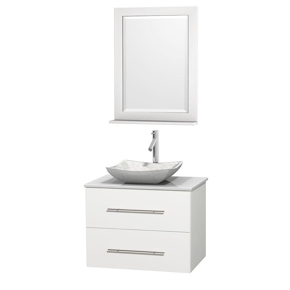 Centra 30-inch W Vanity in White with Solid Top with White Basin and Mirror