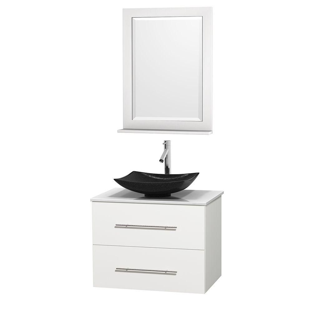Centra 30-inch W Vanity in White with Solid Top with Black Basin and Mirror