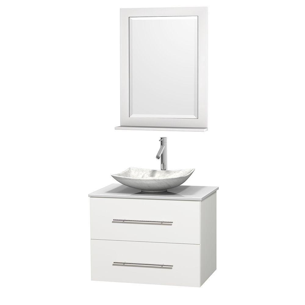 Meuble simple Centra 30 po. blanc, comptoir solide, lavabo blanc Carrare, miroir 24 po.