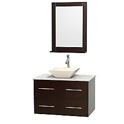 Wyndham Collection Centra 36-inch W 2-Drawer 2-Door Wall Mounted Vanity in Brown With Marble Top in White With Mirror