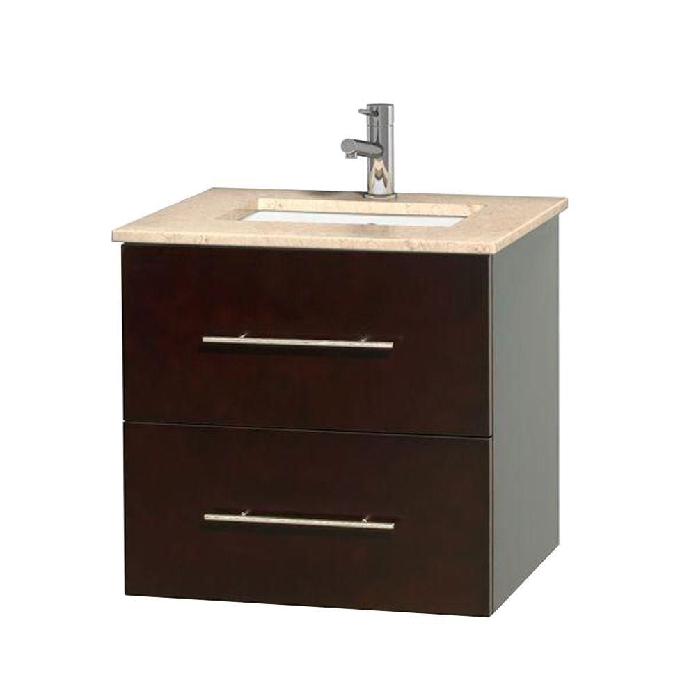 Centra 24-inch W Vanity in Espresso with Marble Top in Ivory with Square Basin