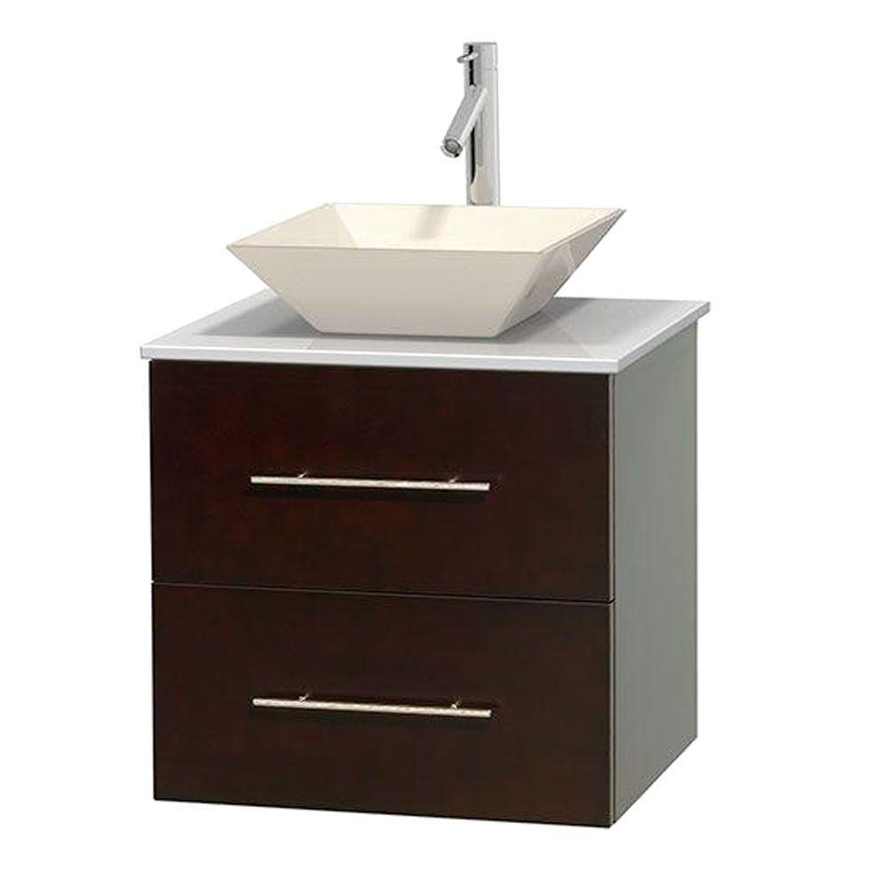 Meuble unique Centra 24 po. espresso, comptoir solide, lavabo porcelaine bone sans miroir
