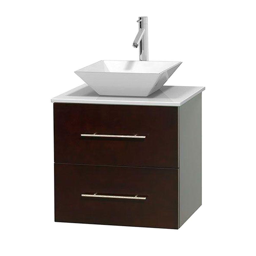 Meuble unique Centra 24 po. espresso, comptoir solide, lavabo porcelaine blanche sans miroir
