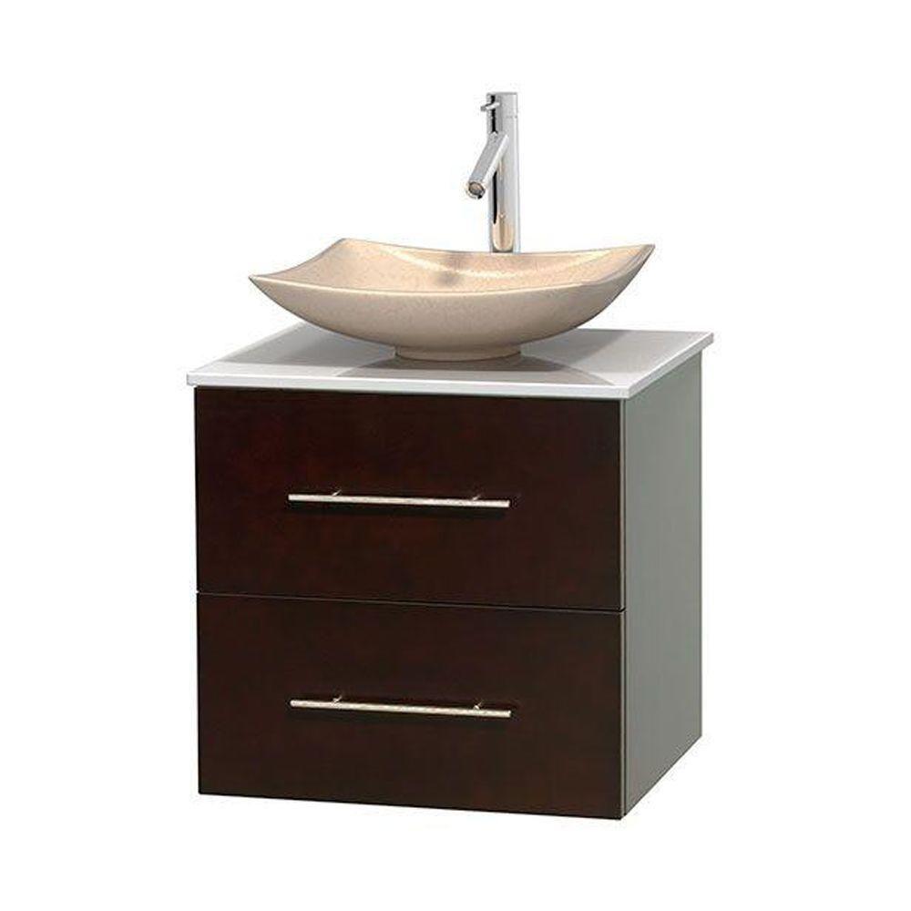 Meuble simple Centra 24 po. espresso, comptoir solide, lavabo ivoire, sans miroir