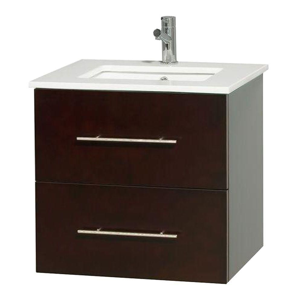 Meuble unique Centra 24 po. espresso, comptoir solide, lavabo carré sans miroir