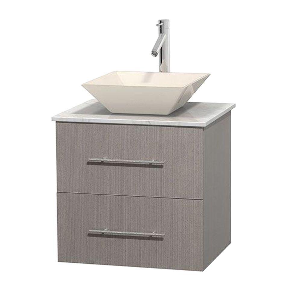 Meuble unique Centra 24 po. chêne gris, comptoir blanc Carrare, lavabo porcelaine bone sans miroi...