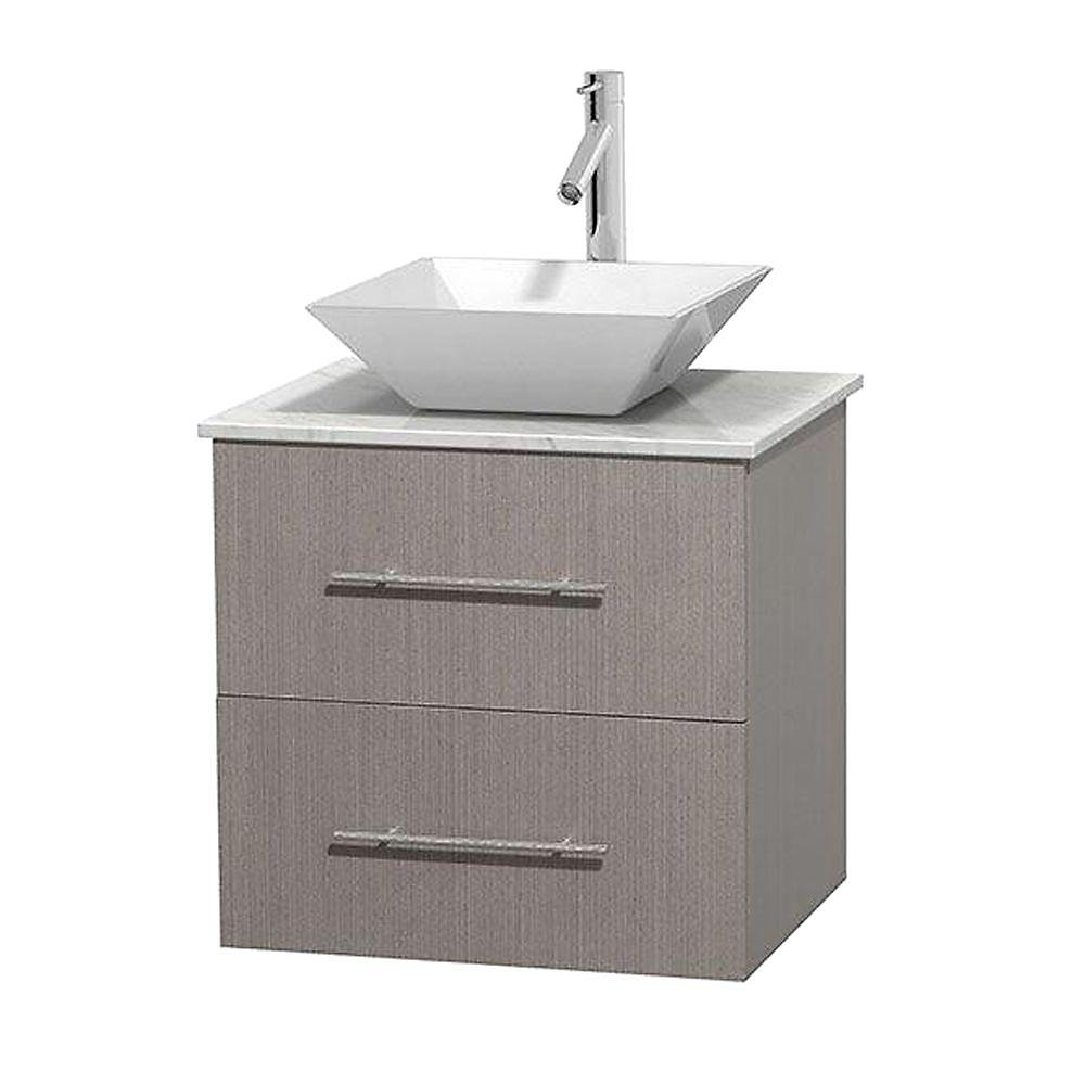 Centra 24-inch W 1-Drawer 1-Door Wall Mounted Vanity in Grey With Marble Top in White