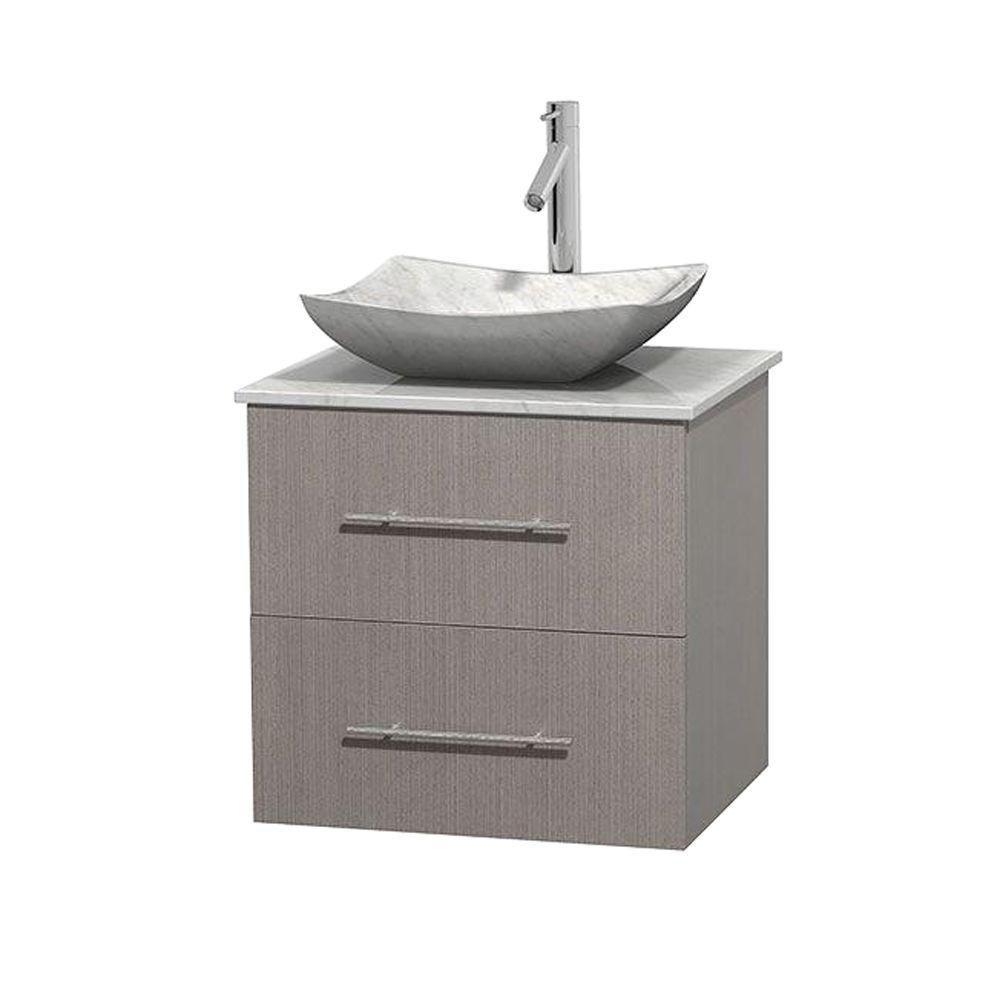 Meuble simple Centra 24 po. chêne gris, comptoir blanc Carrare, lavabo blanc Carrare, sans miroir
