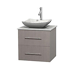 Wyndham Collection Centra 24-inch W 1-Drawer 1-Door Wall Mounted Vanity in Grey With Marble Top in White