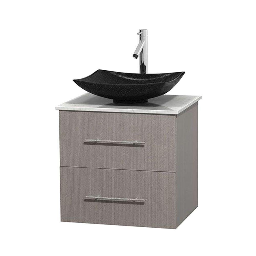 Meuble simple Centra 24 po. chêne gris, comptoir blanc Carrare, lavabo granit noir, sans miroir