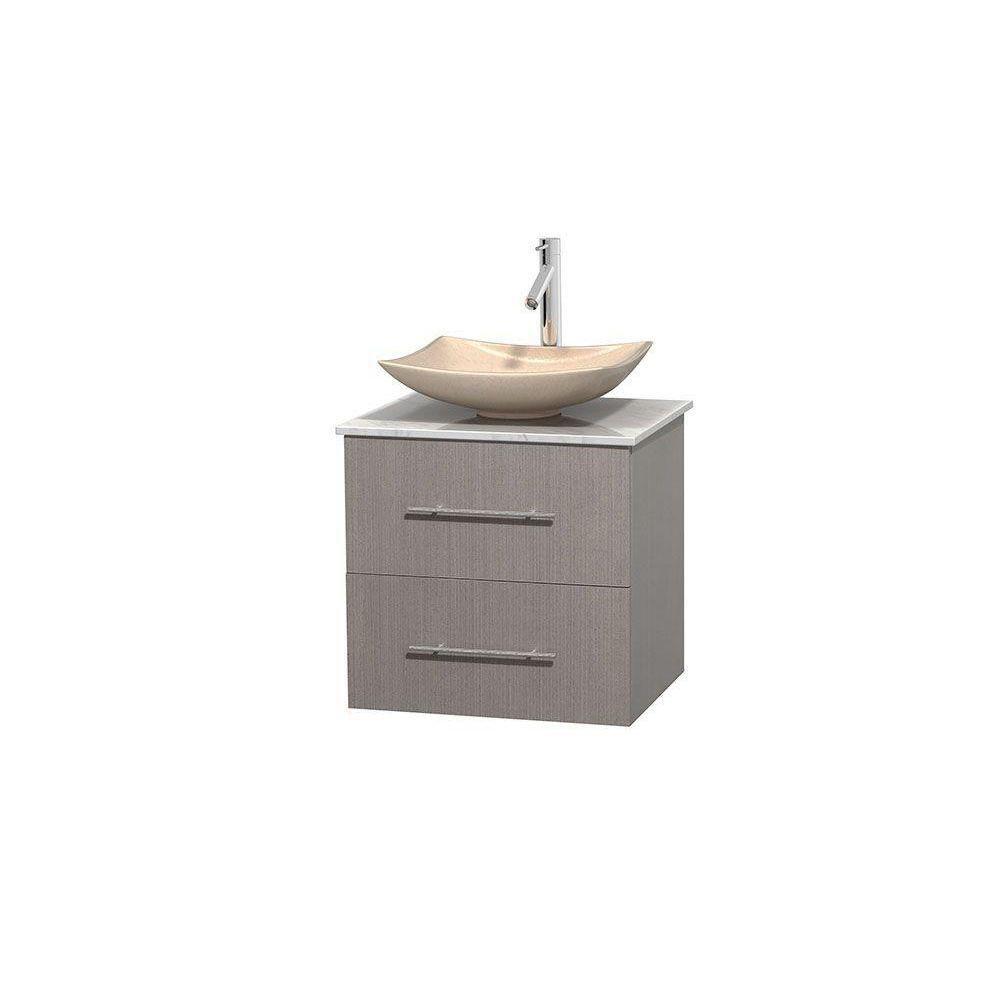 Meuble simple Centra 24 po. chêne gris, comptoir blanc Carrare, lavabo ivoire, sans miroir
