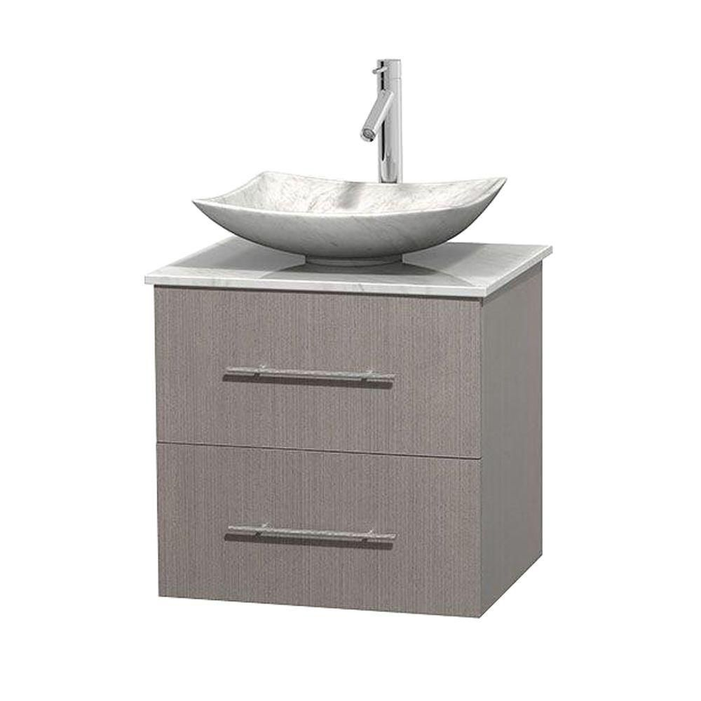 Centra 24-inch W Vanity in Grey Oak with White Top with White Basin