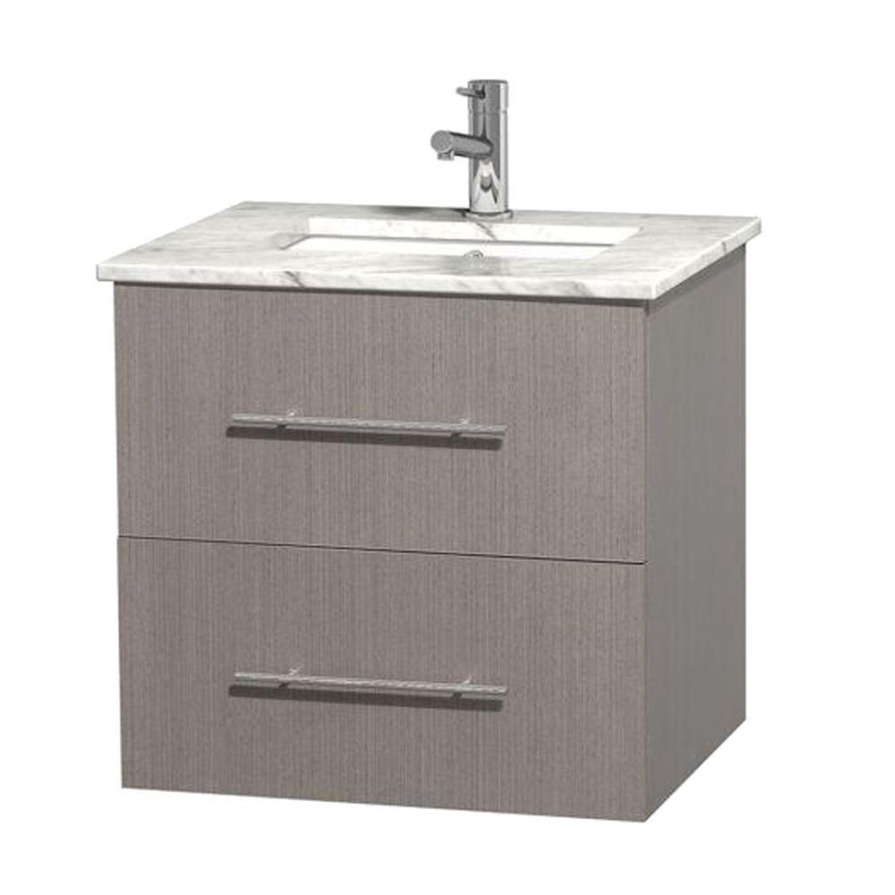 Centra 24-inch W Vanity in Grey Oak with White Top with Square Basin