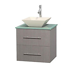 Wyndham Collection Centra 24-inch W 1-Drawer 1-Door Wall Mounted Vanity in Grey With Top in Green