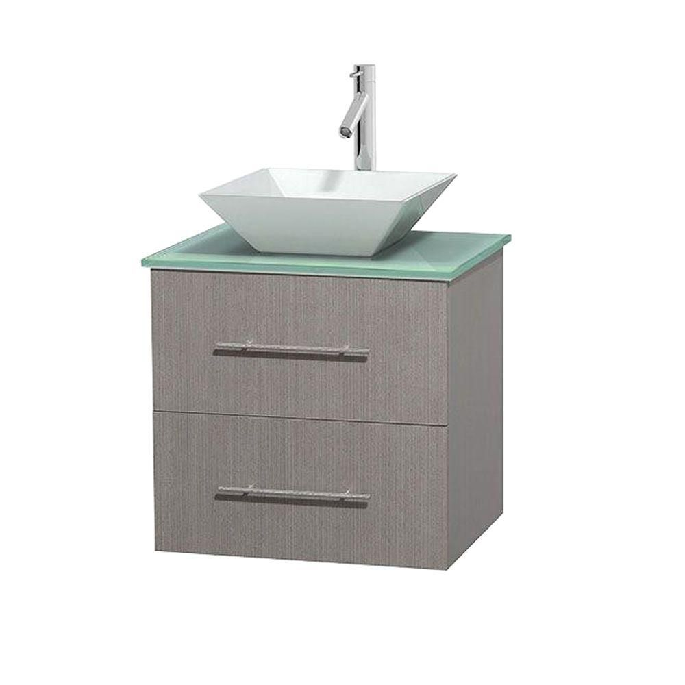 Centra 24-inch W Vanity in Grey Oak with Glass Top with White Basin