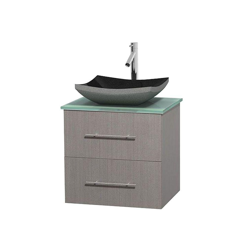Centra 24-inch W Vanity in Grey Oak with Glass Top in Green and Granite Sink